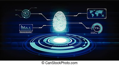 Fingerprint on HUD UI interface future technology background