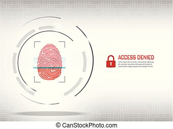 fingerprint scanning on digital white background.