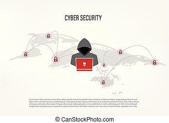 Hacker on world map digital background