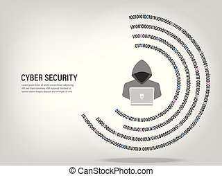Internet Hacker on digital binary code circle background.