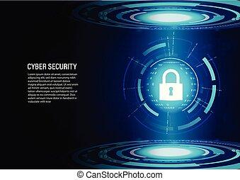 Padlock on future technology Digital Background.