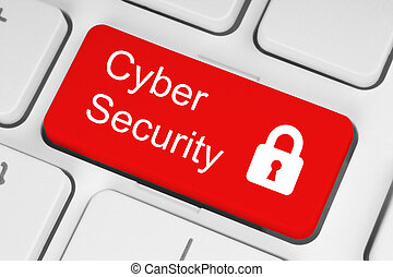 Cyber security concept - Cyber security concept on red...