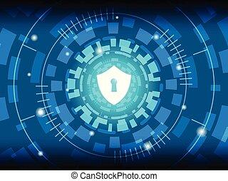 Shield on Digital Background.