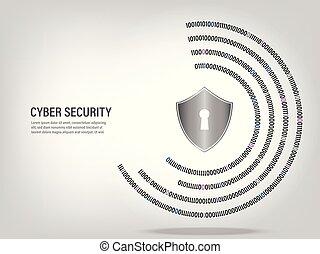 Shield on digital binary code circle background.