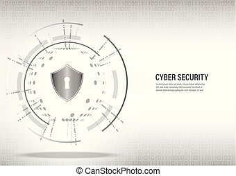 Shield on digital white background.