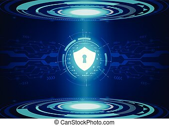 Shield on future technology Digital Background.
