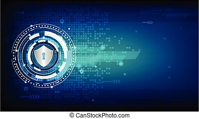 Shield on mosaic digital background.