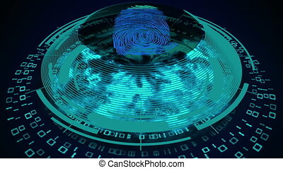 Cyber security concept. Fingerprint scan of a closed...