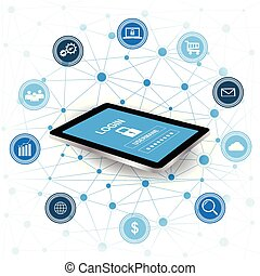 Cyber Security concept. Tablet with security protection and icons for web. Internet security. Protected computer networks