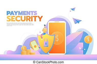 Cyber security concept with characters. Can use for web banner, infographics, hero images. Flat isometric vector illustration.