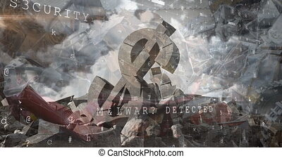 Animation of financial data processing over cracked American dollar currency symbol and clouded sky. Global finance business economy concept digitally generated image.