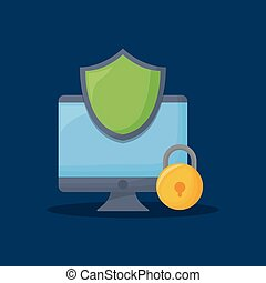 cyber security design with computer and shield over blue background, colorful design. vector illustration