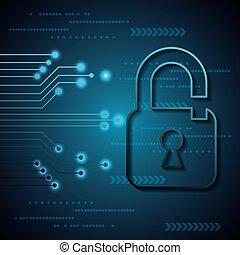 cyber security digital binary circuit background unlocked padlocks vector illustration