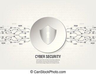 Digital Shield on binary code background
