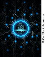 Cyber security fingerprint dark blue abstract digital conceptual technology background. Computer technology website internet infographics. Finger-print scanning. Hand print.
