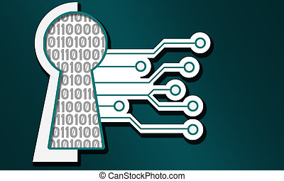 Cyber security icon isolated on blue background