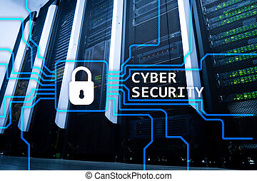 Cyber security, information privacy and data protection concept on server room background.
