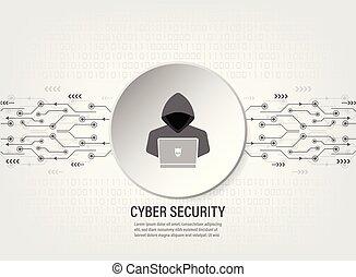 Internet Hacker on binary code background