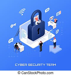 Cyber security team isometric concept on blue background 3d vector illustration