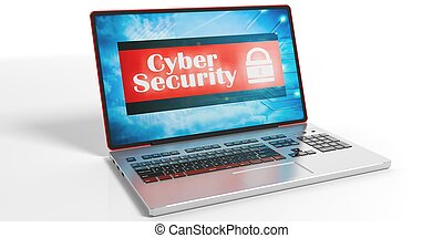 Cyber security on a laptop screen. 3d illustration