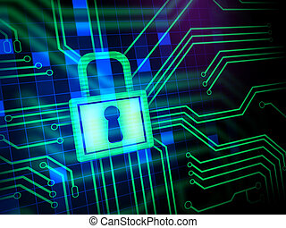 Cyber Security - Padlock and keyhole in a printed circuit. ...