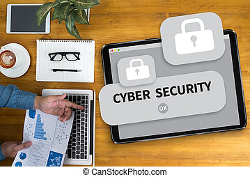 CYBER SECURITY Businessman working at office desk and using...