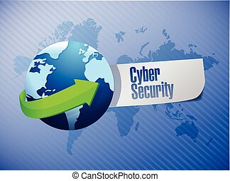 cyber security sign illustration design over a world map...