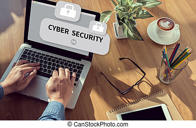 CYBER SECURITY man hand on table Business, coffee, Split...