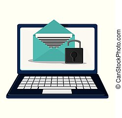 cyber security technology data email padlock