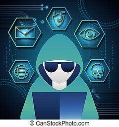 cyber security technology hacker computer skull piracy crime shield protection vector illustration