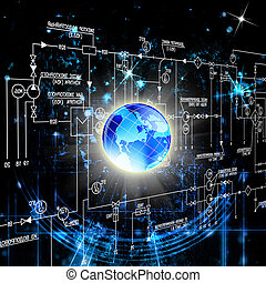 Cyber security - The newest Internet technology. Connection...
