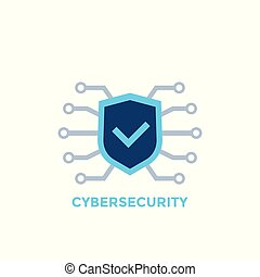 cyber security vector logo with shield and check mark, eps 10 file, easy to edit
