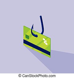 cyber security with credit card and fish hook