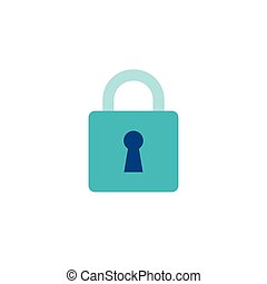 cyber security with padlock flat style icon