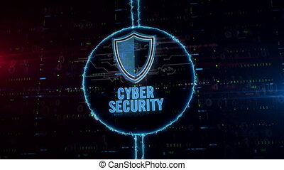 Cyber security with shield hologram in electric circle -...