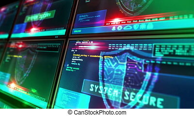 Cyber security with shield symbol on screen loopable animation