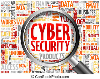 Cyber Security word cloud with magnifying glass, business...