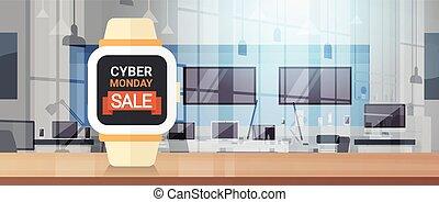 cyber, segunda-feira, sinal, ligado, esperto, relógio, monitor, grande, venda, bandeira, fundo, desenho