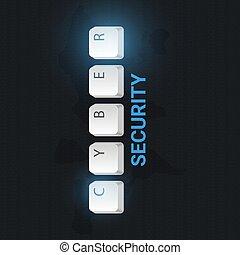 cyber, segurança, illustration., vetorial, bandeira, buttons., teclado