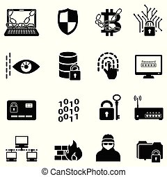 cyber, segurança, proteção dados, hacker, e, encryption, ícones correia fotorreceptora