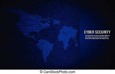 cyber, sicherheit, begriff, auf, binärcode, hintergrund