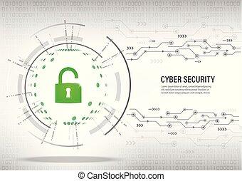 cyber, sicherheit, begriff, auf, digital, weißes, hintergrund.