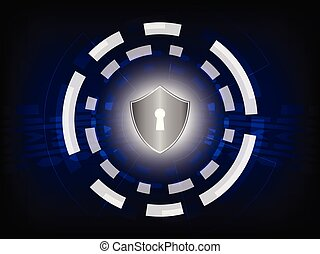 cyber, sicherheit, begriff, :, schutzschirm, auf, digital, hintergrund.