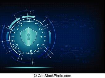 cyber, sicherheit, begriff, :shield, auf, zukunftsidee, hintergrund
