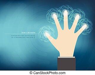 cyber, sicurezza, concetto, con, mano, abtract, tecnologia, fondo., vettore, illustrazione