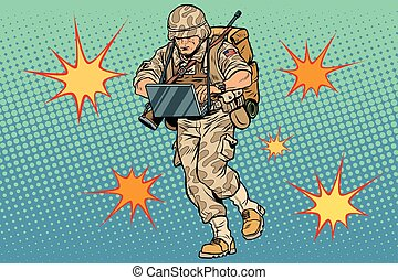Cyber soldier with a computer. Vintage pop art retro comic book vector illustration. Commando officer. US army. Flash explosions