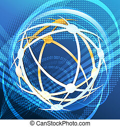 Cyber space - Illustration with global communication icon ...