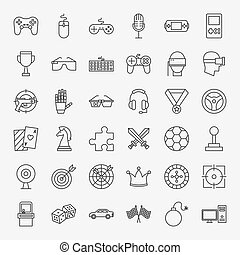 Cyber Sport Line Icons Set