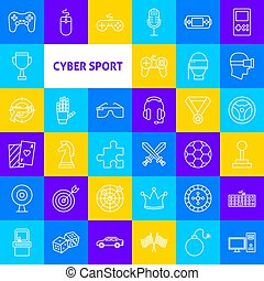 Cyber Sport Line Icons