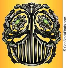 Cyber techno digital robot face